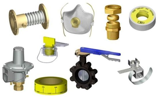 various gas fittings