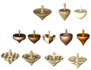 woode spinning tops